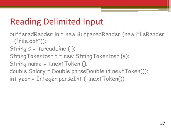 Reading Delimited Input