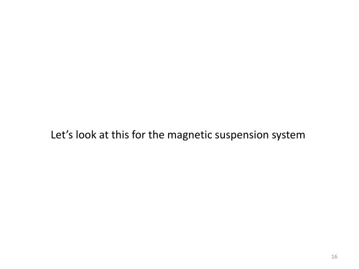 Let's look at this for the magnetic suspension system