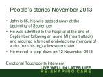 people s stories november 2013