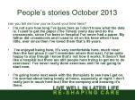 people s stories october 20131