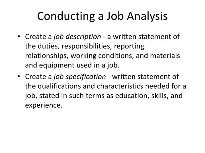 Conducting a Job Analysis