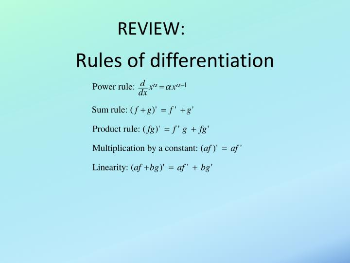rules of differentiation n.