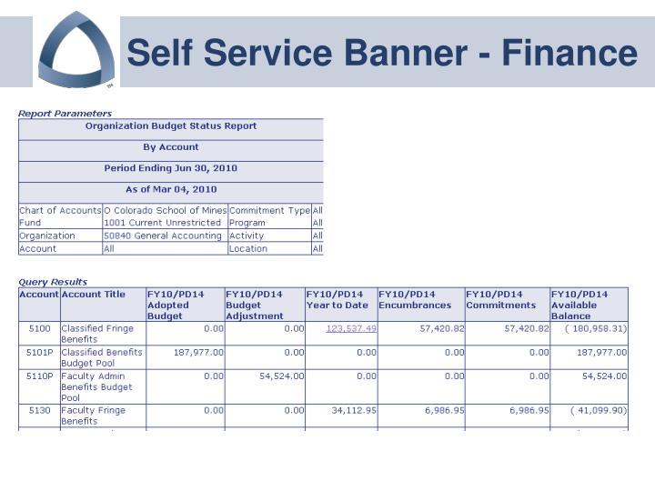 Self Service Banner - Finance