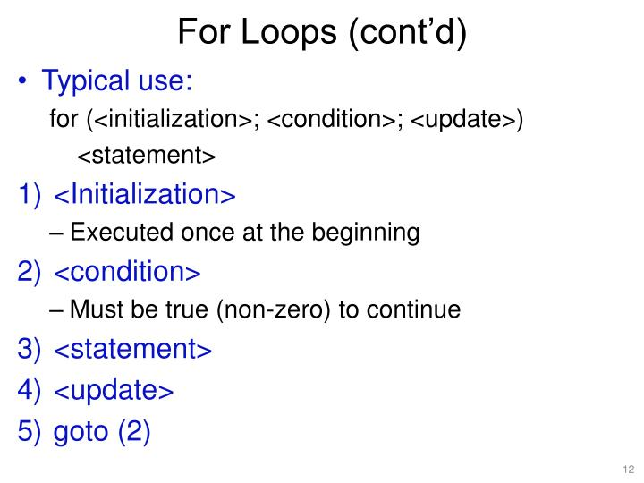 For Loops (cont'd)