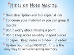 hints on note making1