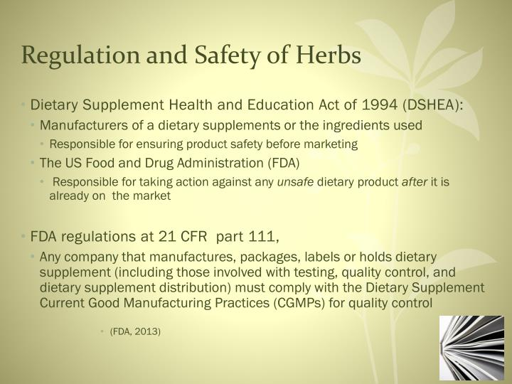 Regulation and Safety of Herbs