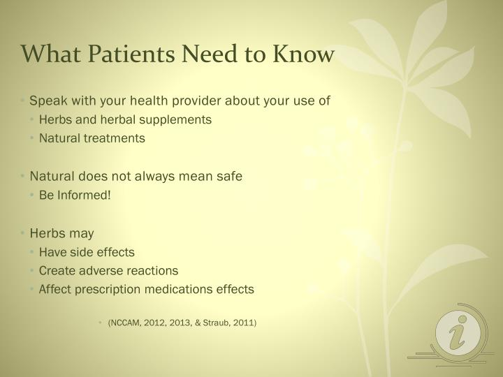 What Patients Need to Know