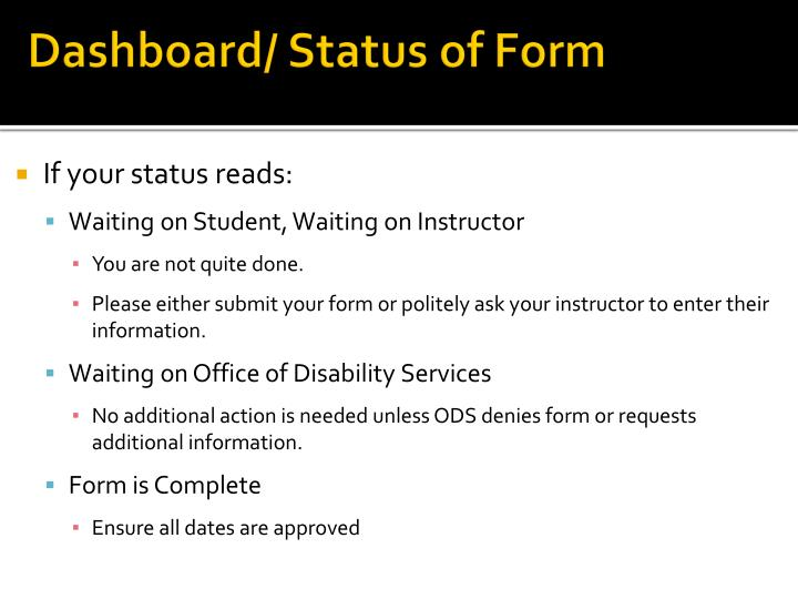 Dashboard/ Status of Form