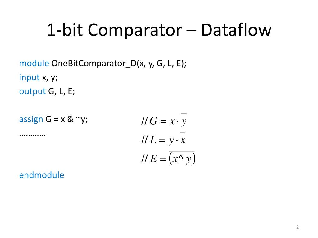 PPT - Verilog Code for 8-bit Comparator PowerPoint