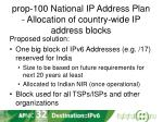 prop 100 national ip address plan allocation of country wide ip address blocks1