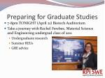 preparing for graduate studies