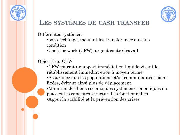 Les syst mes de cash transfer