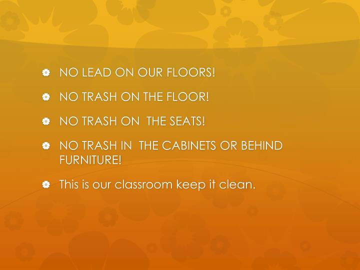 NO LEAD ON OUR FLOORS!