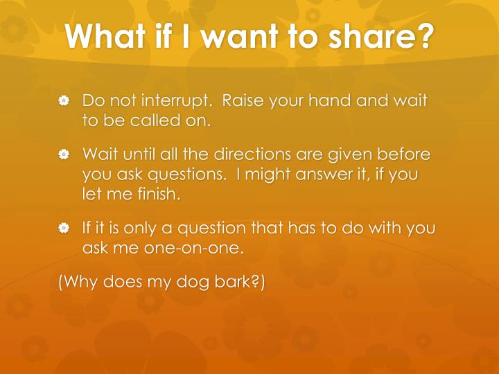 What if I want to share?