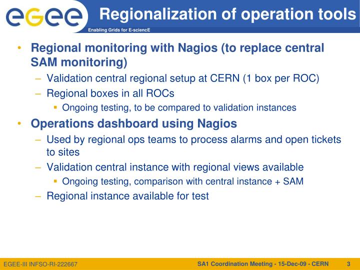 Regionalization of operation tools
