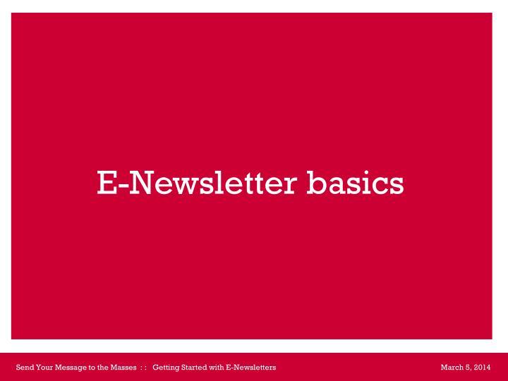 E newsletter basics