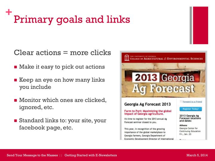 Primary goals and links