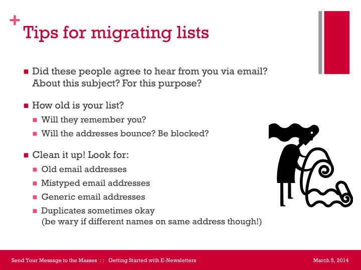Tips for migrating