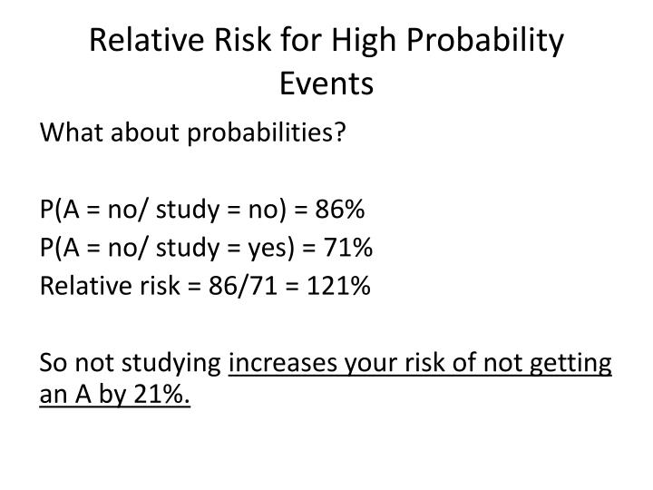 Relative Risk for High Probability Events