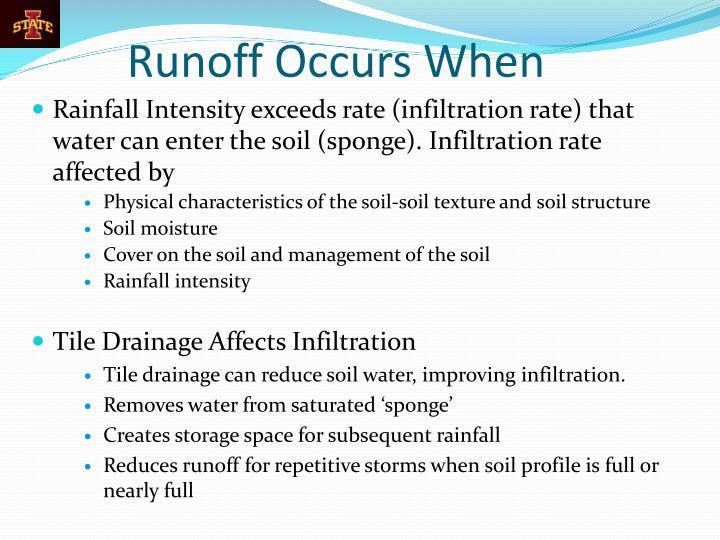 Runoff Occurs When