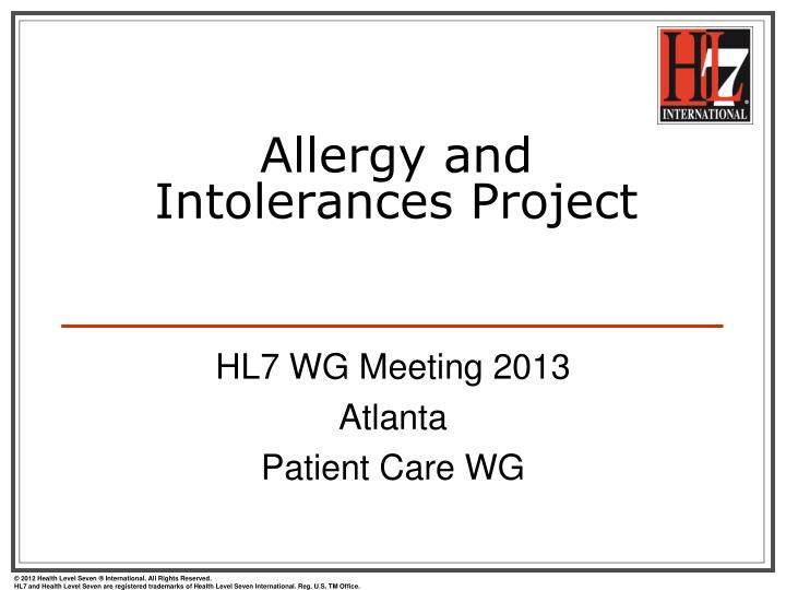 allergy and intolerances project