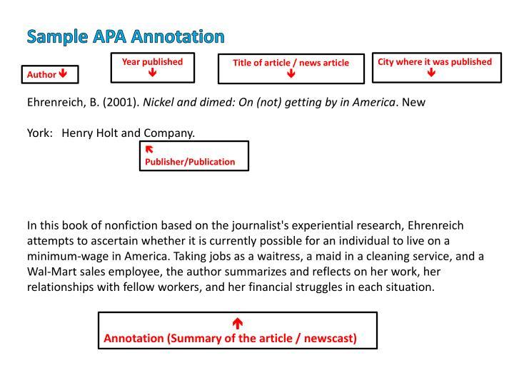 Sample APA Annotation