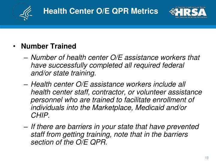 Health Center O/E QPR Metrics