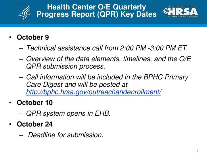 Health Center O/E Quarterly Progress Report