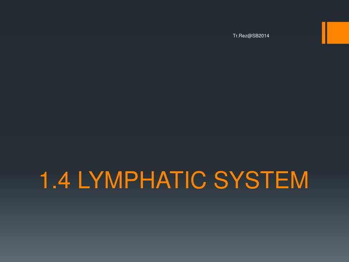 1 4 lymphatic system