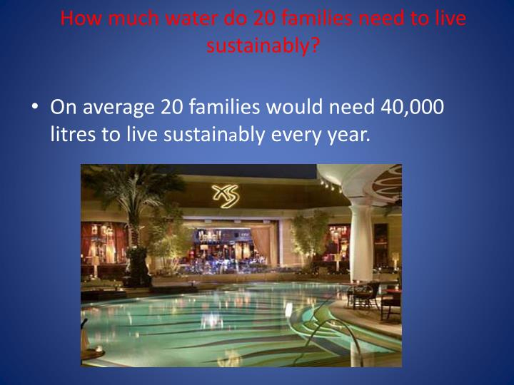 How much water do 20 families need to live sustainably?