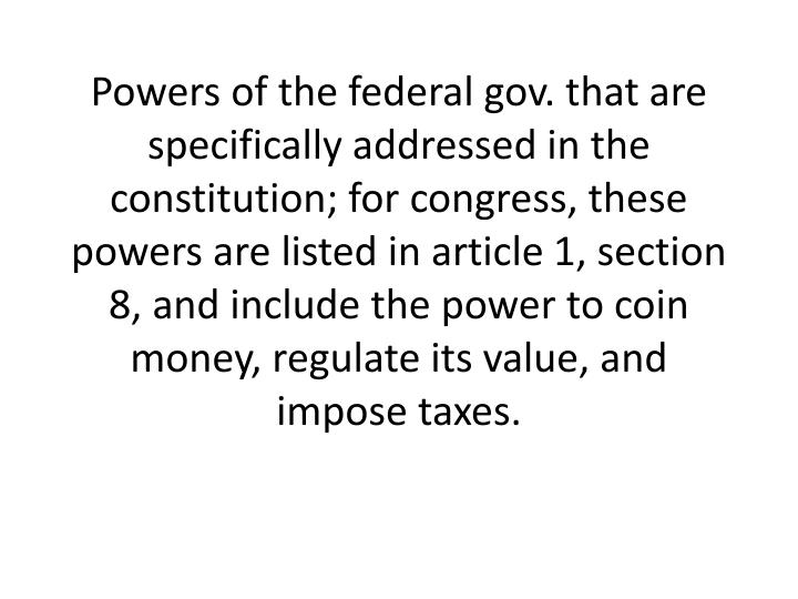 Powers of the federal