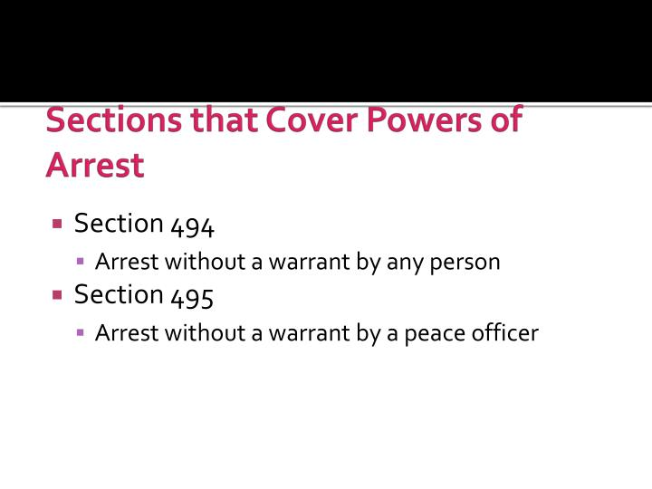 Sections that Cover Powers of Arrest