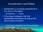 acceleration and mass