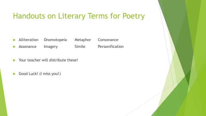 Handouts on Literary Terms for Poetry