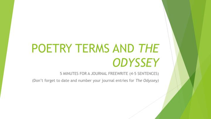 Poetry terms and the odyssey