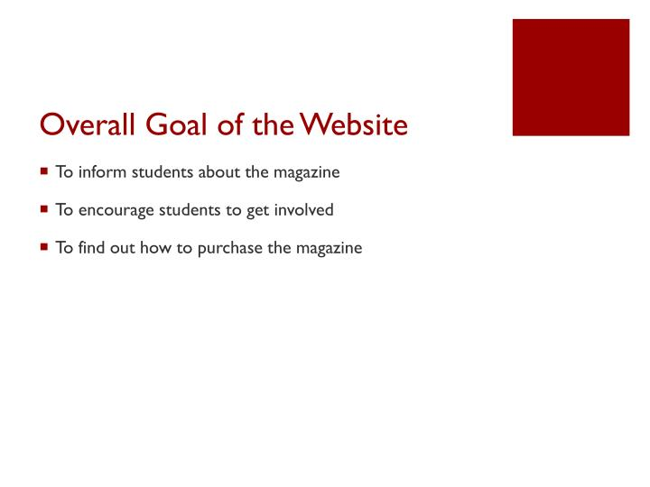 Overall goal of the website