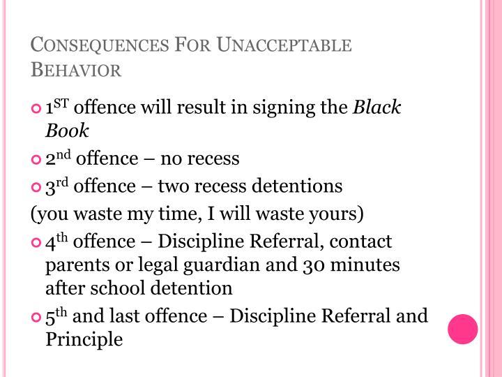 Consequences For Unacceptable Behavior