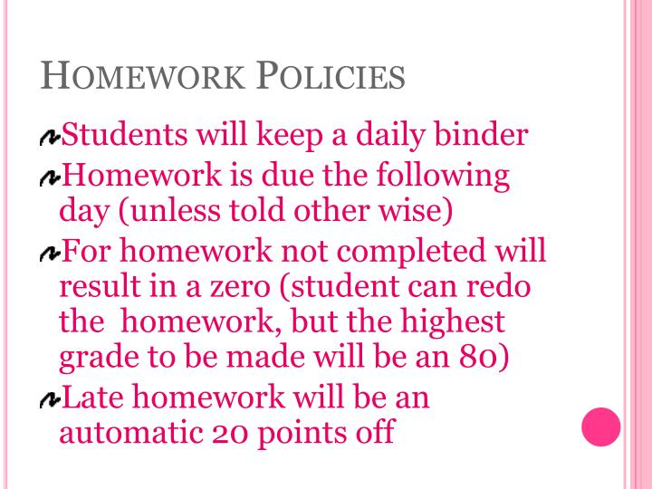 Homework policies