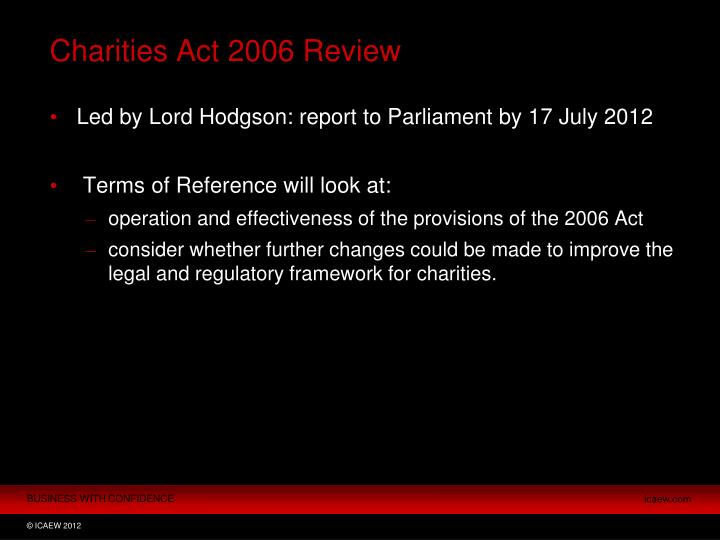 Charities Act 2006 Review