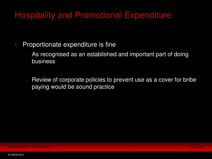 Hospitality and Promotional Expenditure