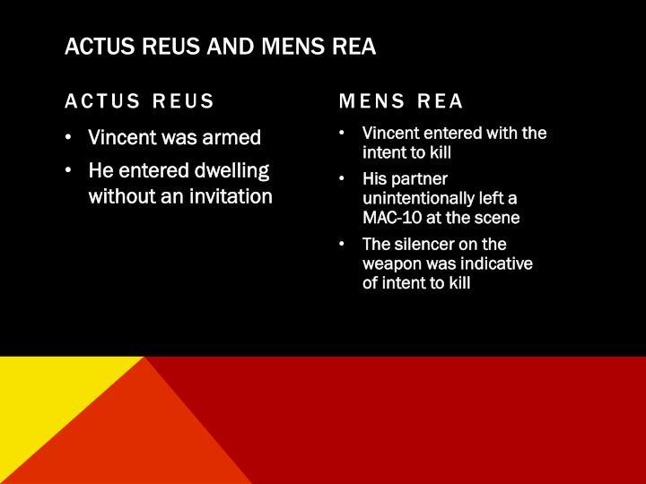 ACTUS REUS AND MENS REA