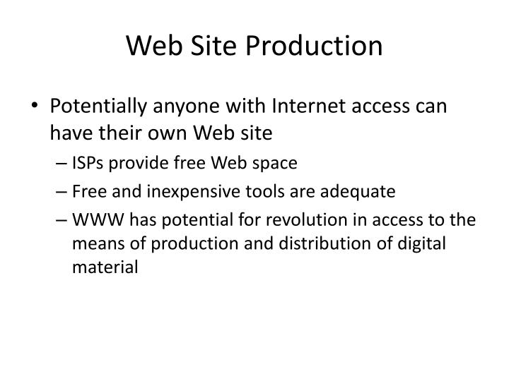 Web Site Production