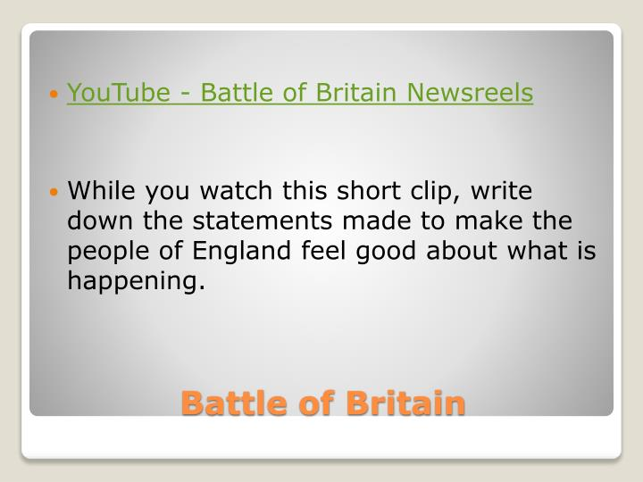 YouTube - Battle of Britain Newsreels