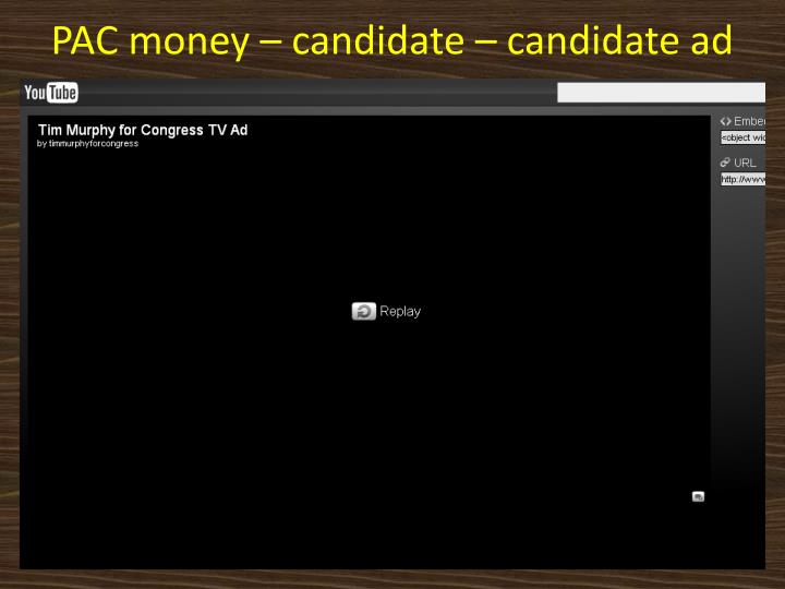 PAC money – candidate – candidate ad
