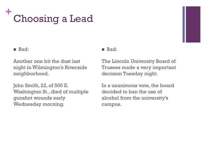 Choosing a Lead