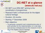 dc net at a glance www dc net eu