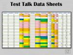 test talk data sheets