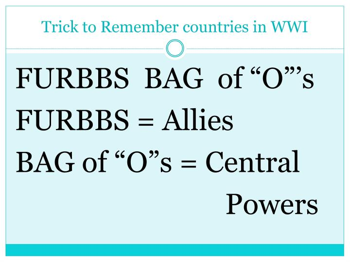Trick to remember countries in wwi