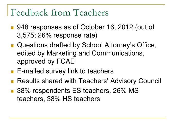 Feedback from Teachers