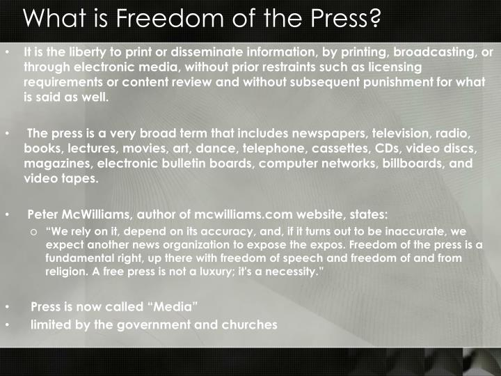 What is Freedom of the Press?